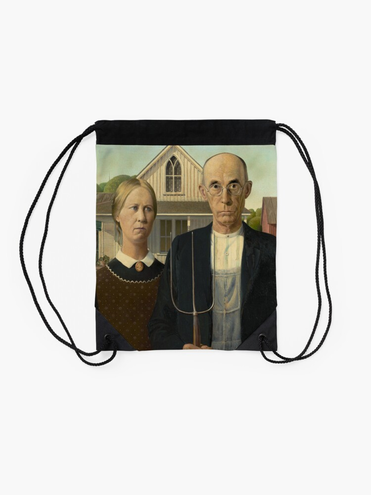 Alternate view of American Gothic Oil Painting by Grant Wood Drawstring Bag