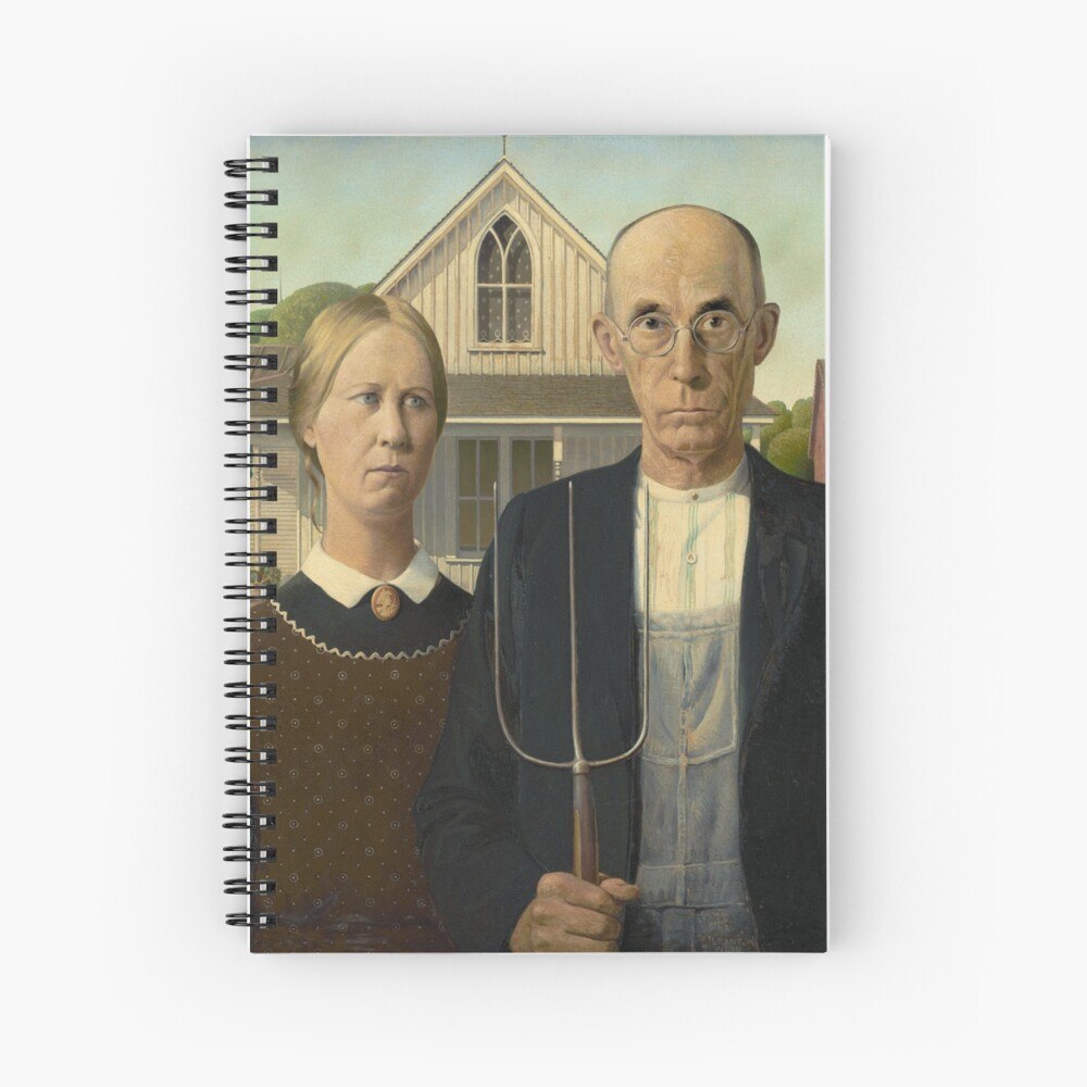 American Gothic Oil Painting by Grant Wood Spiral Notebook