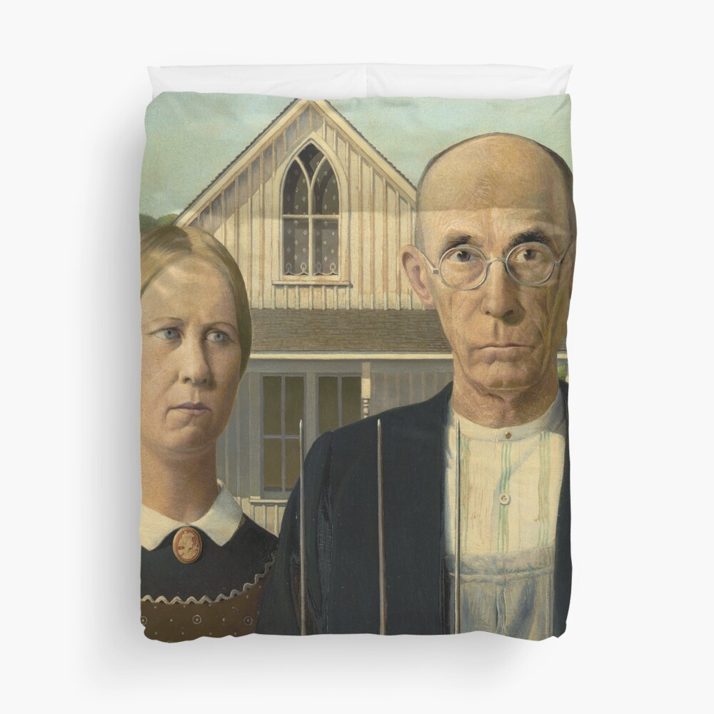 American Gothic Oil Painting by Grant Wood Duvet Cover