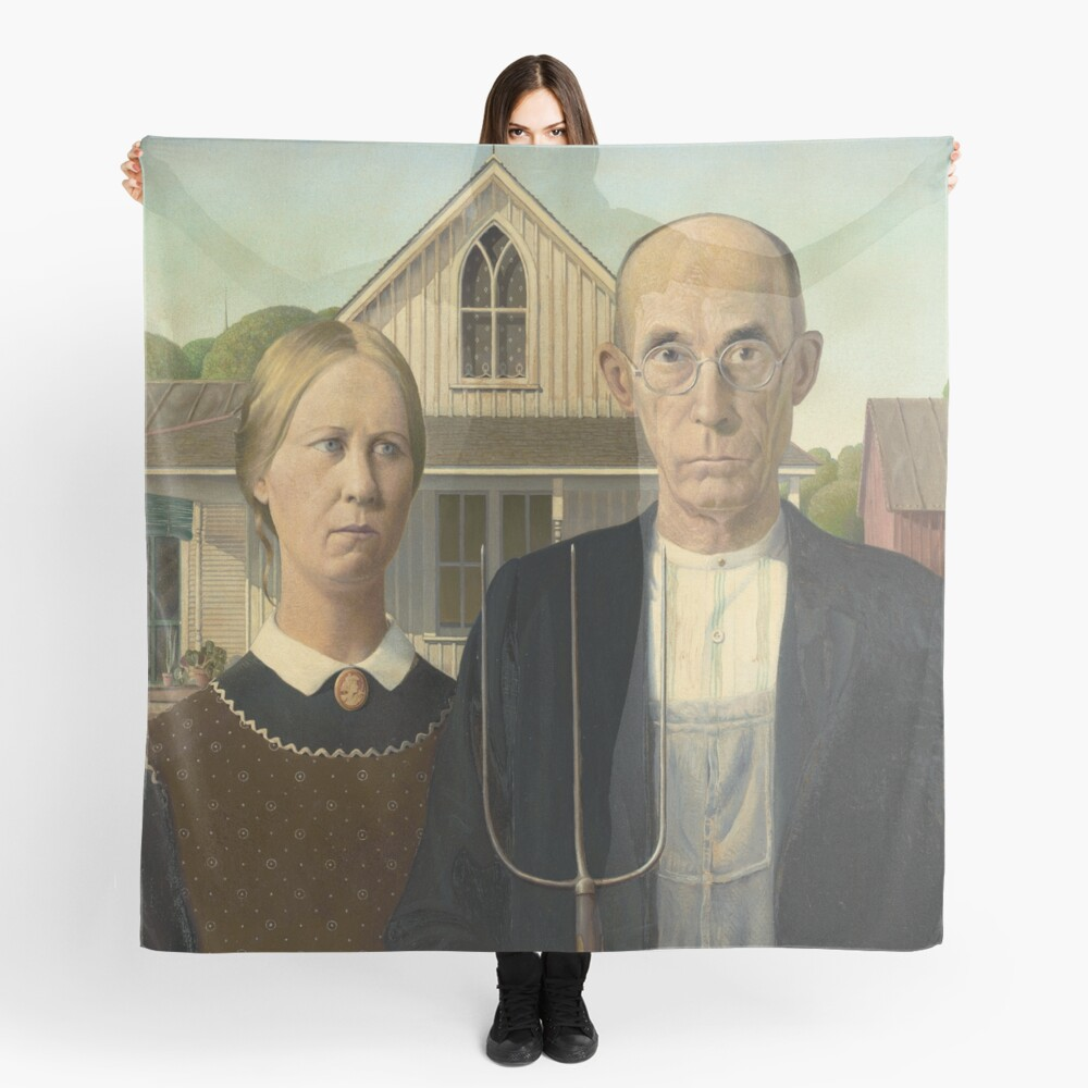 American Gothic Oil Painting by Grant Wood Scarf