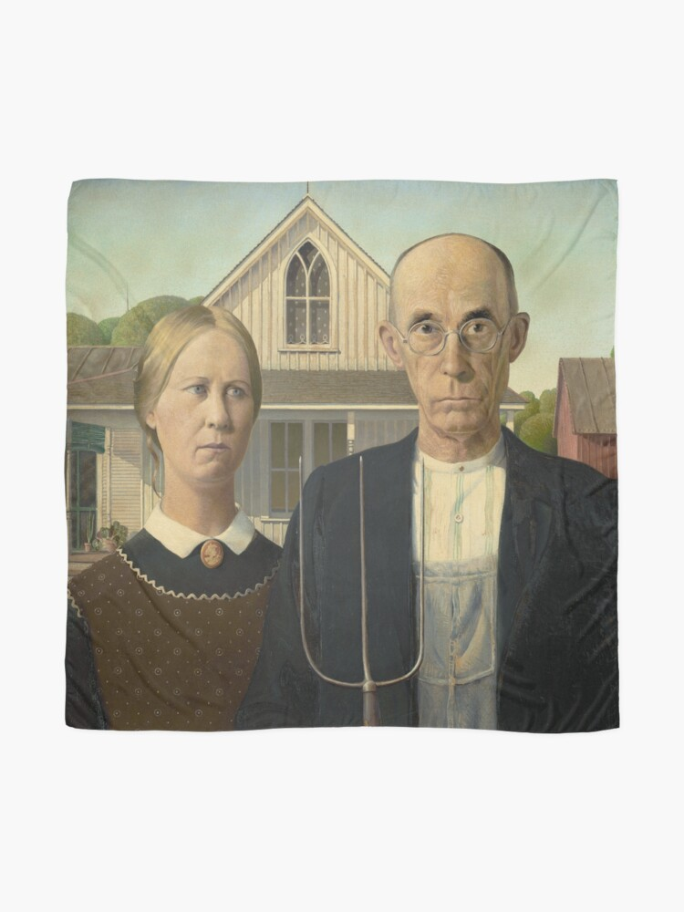 Alternate view of American Gothic Oil Painting by Grant Wood Scarf