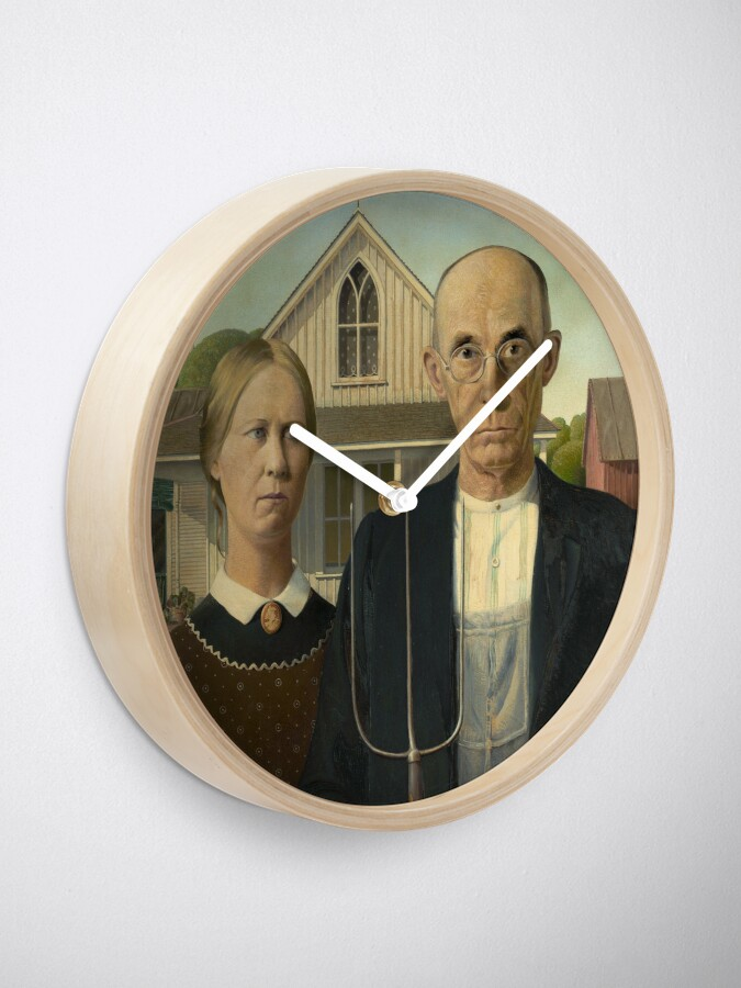 Alternate view of American Gothic Oil Painting by Grant Wood Clock
