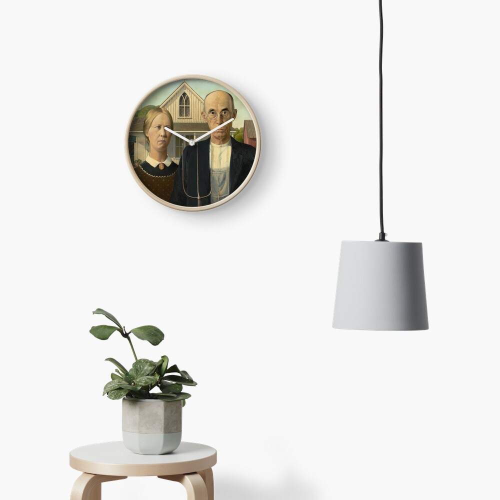 American Gothic Oil Painting by Grant Wood Clock