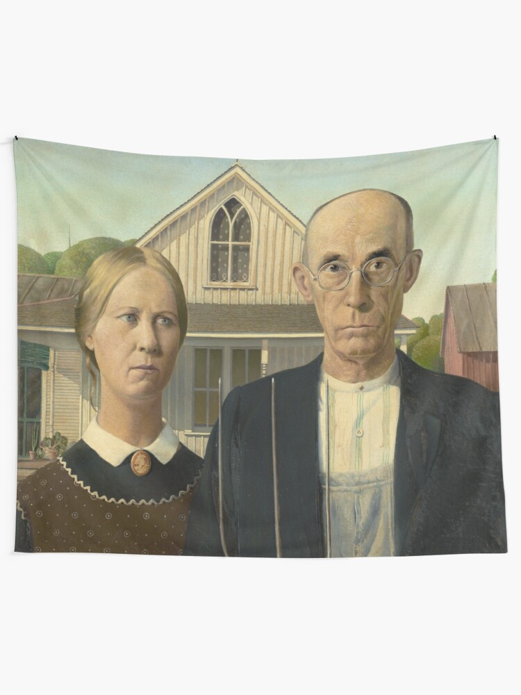 Alternate view of American Gothic Oil Painting by Grant Wood Tapestry