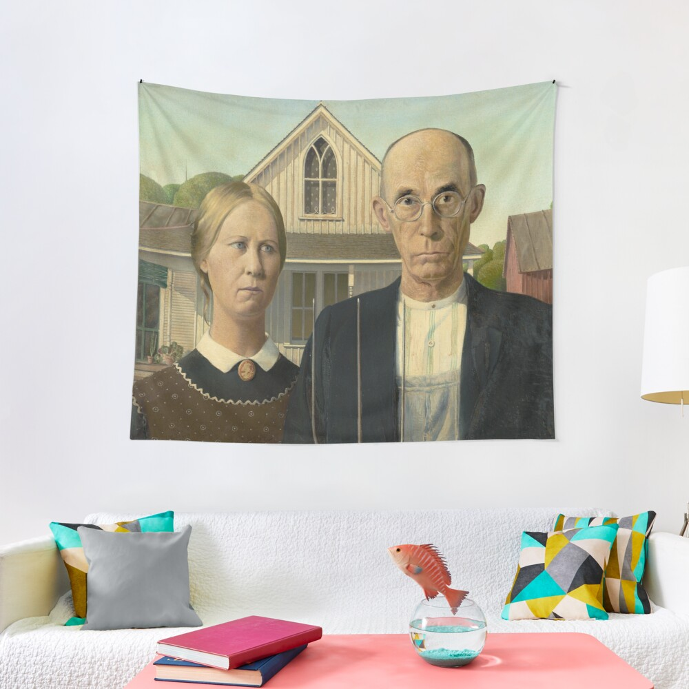 American Gothic Oil Painting by Grant Wood Tapestry