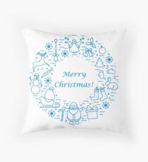 Vector illustration of different new year and Christmas symbols arranged in a circle.  Throw Pillow