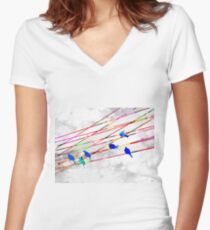 Birds on the Wire Women's Fitted V-Neck T-Shirt