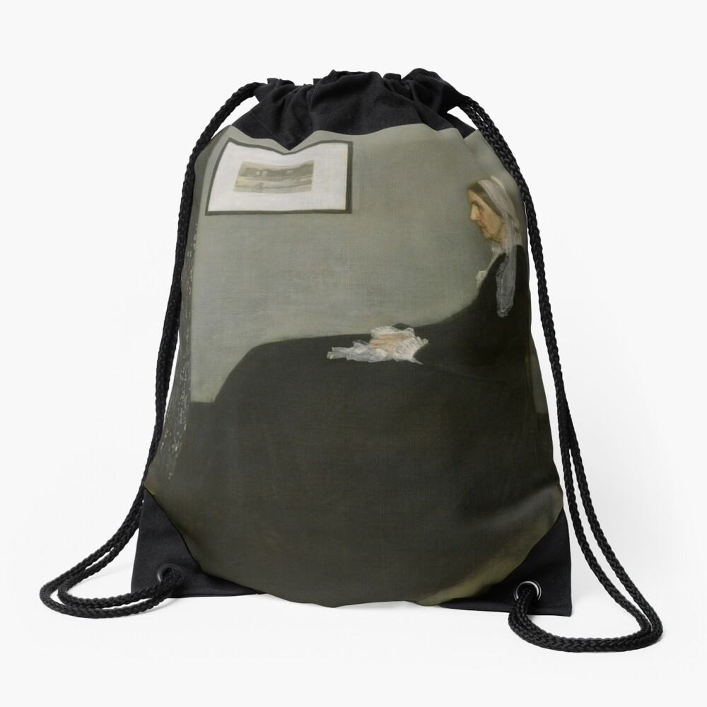 Whistlers Mother Oil Painting by James McNeill Whistler Drawstring Bag