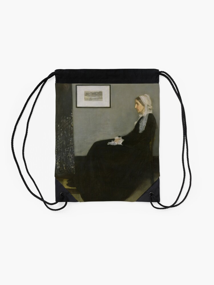 Alternate view of Whistlers Mother Oil Painting by James McNeill Whistler Drawstring Bag