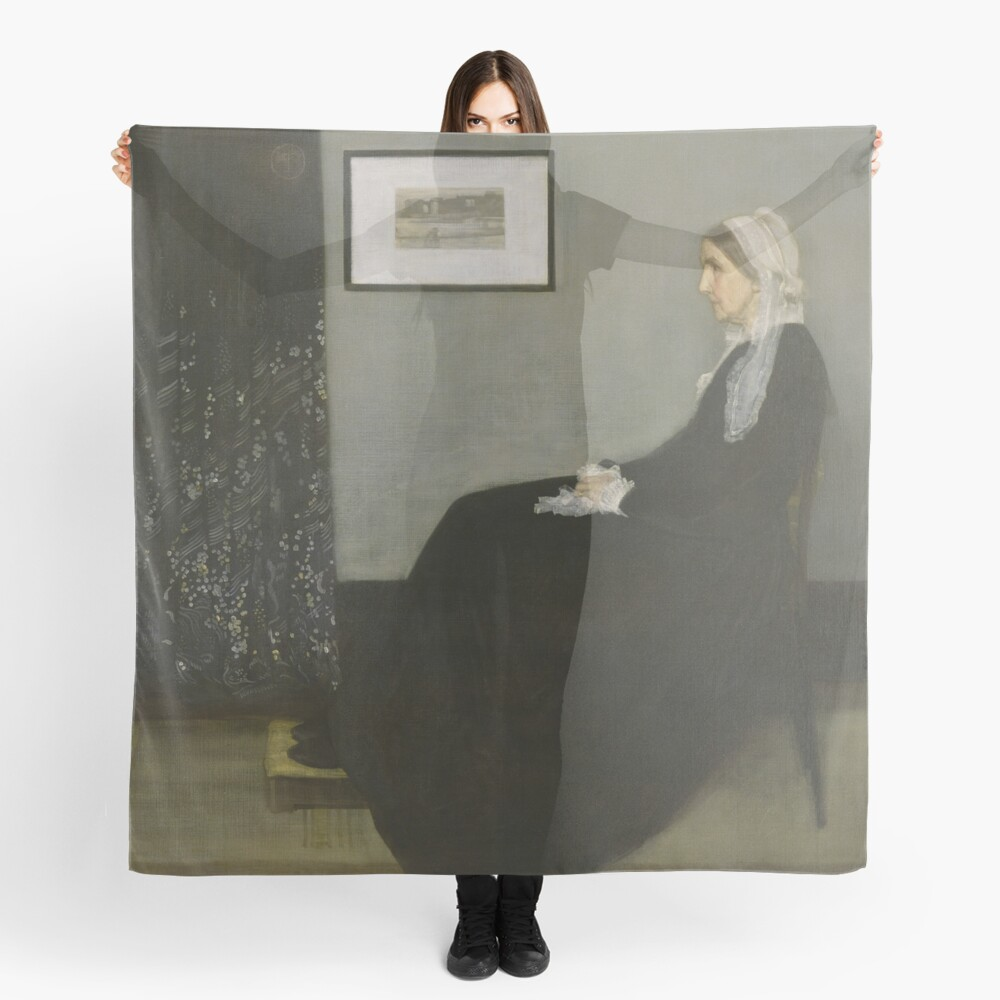 Whistlers Mother Oil Painting by James McNeill Whistler Scarf