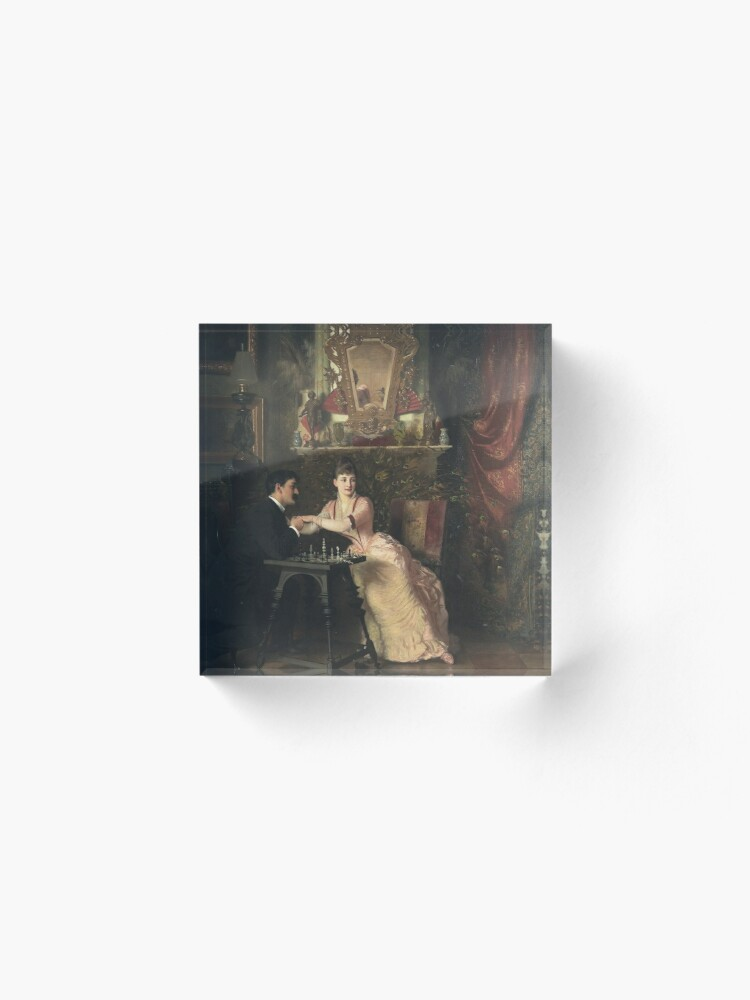 Alternate view of The Proposal Oil Painting by Knut Ekwall  Acrylic Block