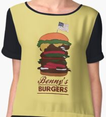 Benny's Burgers Chiffon Top