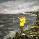 Fishing from the Cliffs of Clare, Ireland by Avril Brand