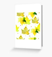 Watercolor yellow maple leaves pattern.  Greeting Card