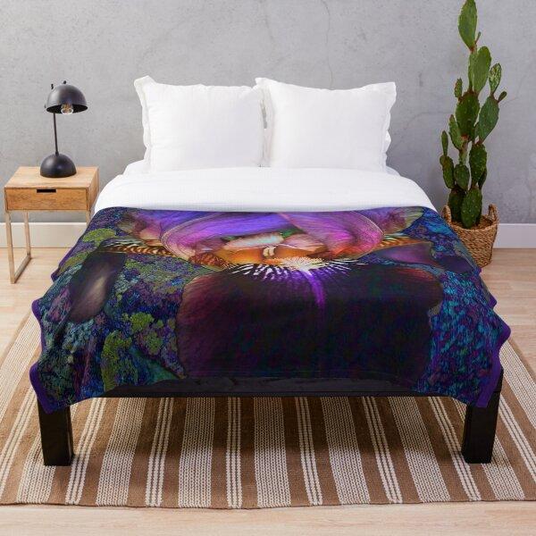 Purple Iris on Moss Throw Blanket