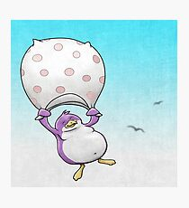 Plummeting Plump Purple Penguin Photographic Print