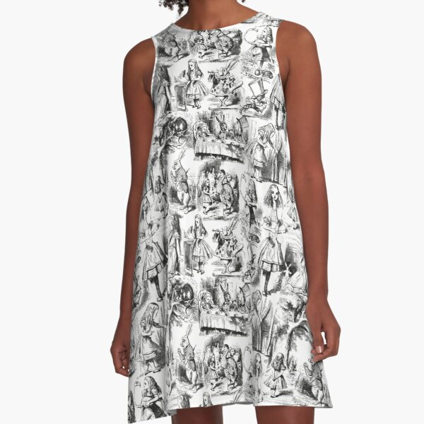 Alice in Wonderland | Toile de Jouy | Toile Pattern | Black and White | Vintage Alice | A-Line Dress
