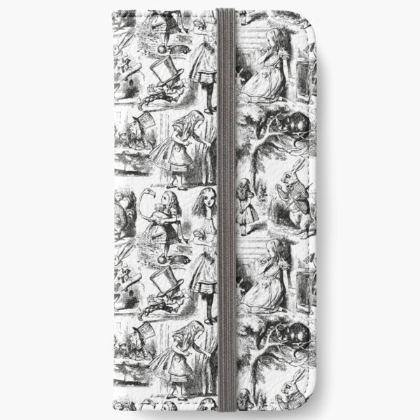 Alice in Wonderland   Toile de Jouy   Toile Pattern   Black and White   Vintage Alice   iPhone Wallet