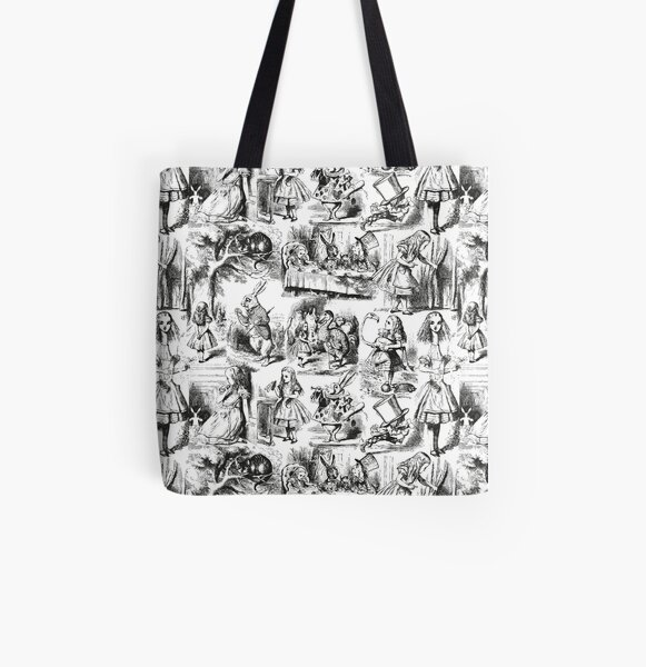 Alice in Wonderland | Toile de Jouy | Toile Pattern | Black and White | Vintage Alice | All Over Print Tote Bag