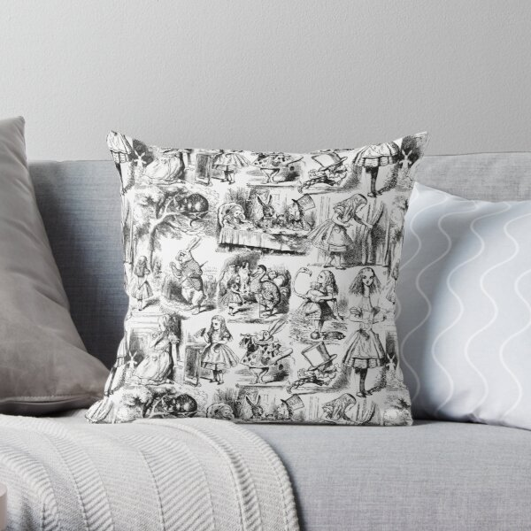 Alice in Wonderland | Toile de Jouy | Toile Pattern | Black and White | Vintage Alice | Throw Pillow