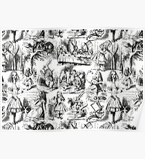 Alice in Wonderland | Toile de Jouy | Black and White Poster