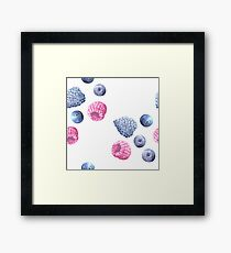 Blueberry Watercolor White Framed Print