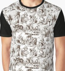 Alice in Wonderland | Toile de Jouy | White and Chocolate Brown Graphic T-Shirt