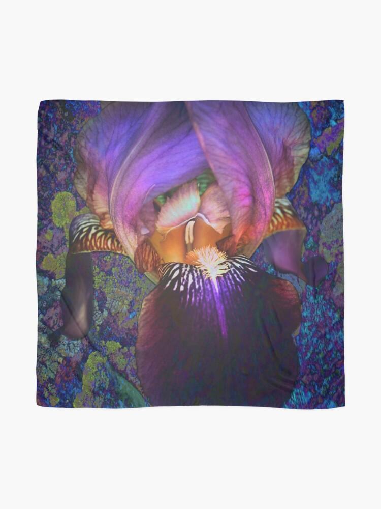 Alternate view of Purple Iris on Moss Scarf