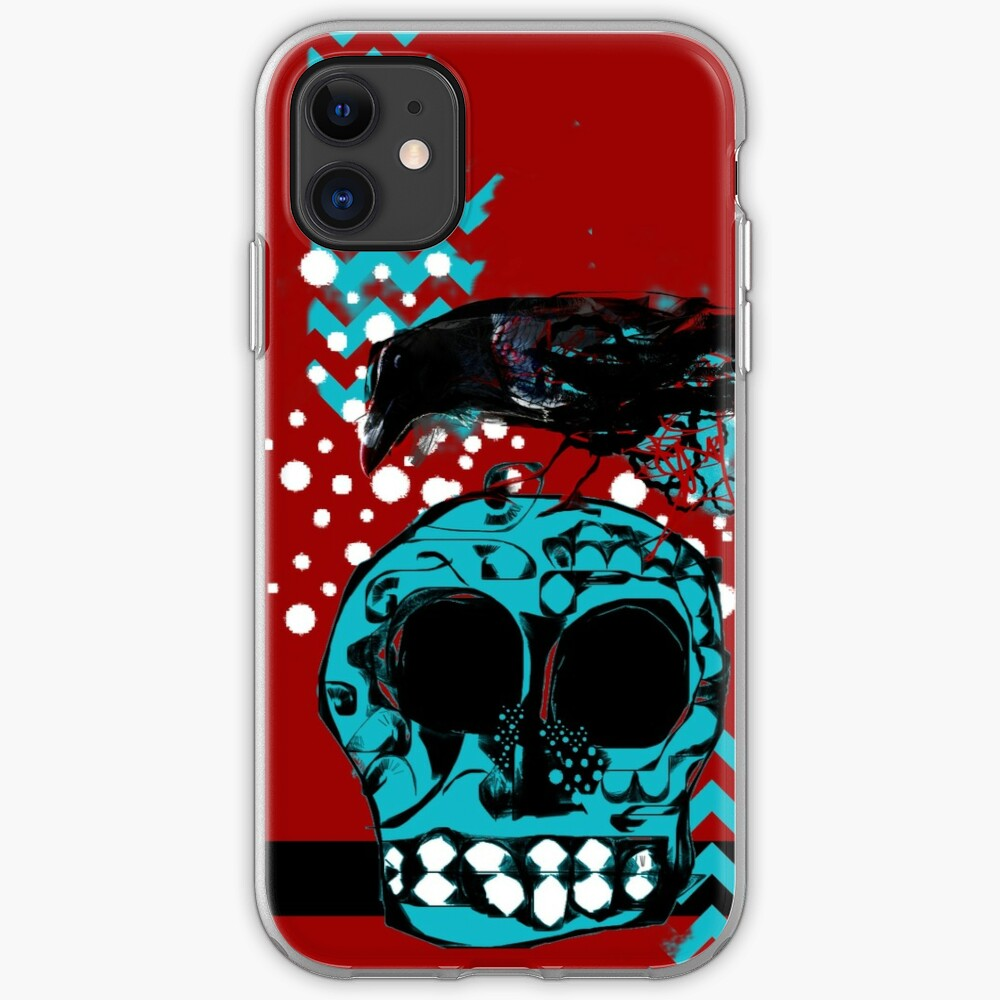 Crow and Skull Contemplation  iPhone Case & Cover