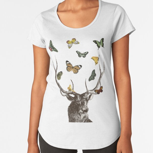 The Stag and Butterflies | Deer and Butterflies | Vintage Stag | Antlers | Woodland | Highland |  Premium Scoop T-Shirt