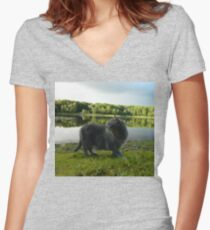 Cat with pond and landscape scenery  Women's Fitted V-Neck T-Shirt