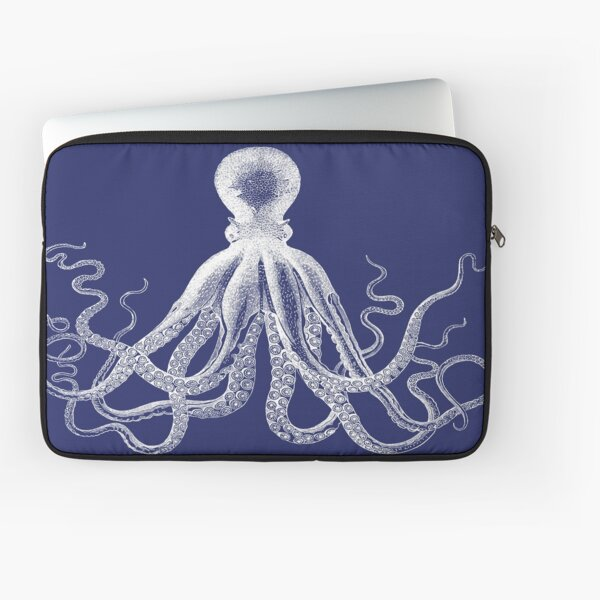 Octopus | Vintage Octopus | Tentacles | Sea Creatures | Nautical | Ocean | Sea | Beach | Navy Blue and White |  Laptop Sleeve
