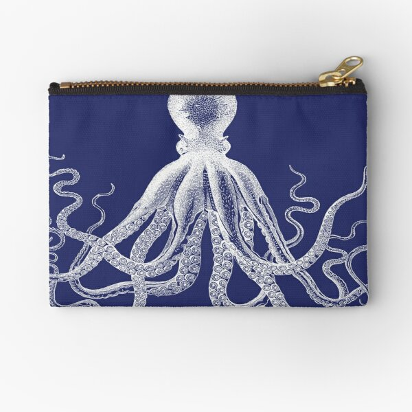 Octopus   Vintage Octopus   Tentacles   Sea Creatures   Nautical   Ocean   Sea   Beach   Navy Blue and White    Zipper Pouch