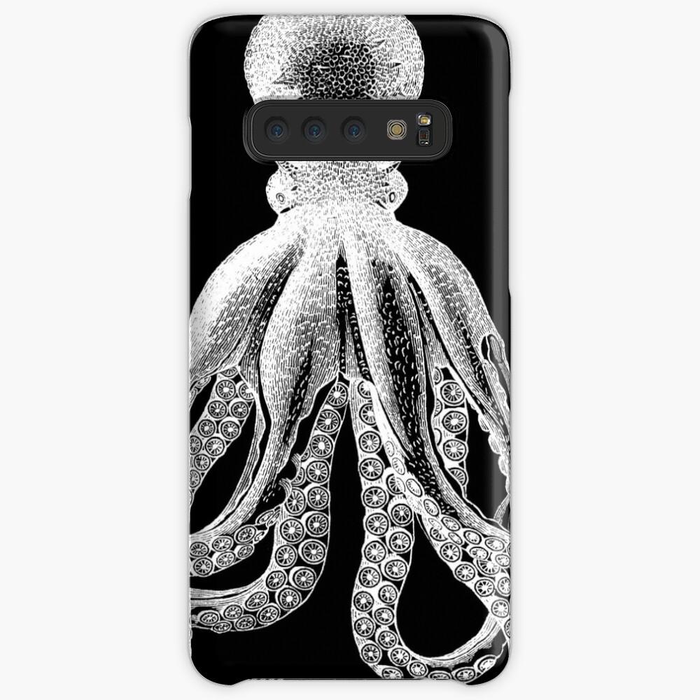 Krake | Weinlese-Krake | Tentakeln | Diptychon | Schwarz und weiß | Hülle & Klebefolie für Samsung Galaxy