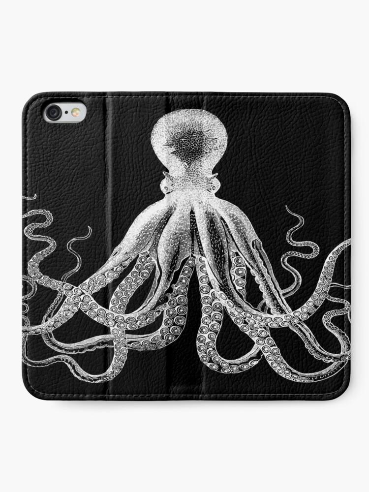 Alternate view of Octopus | Vintage Octopus | Tentacles | Sea Creatures | Nautical | Ocean | Sea | Beach | Black and White |  iPhone Wallet