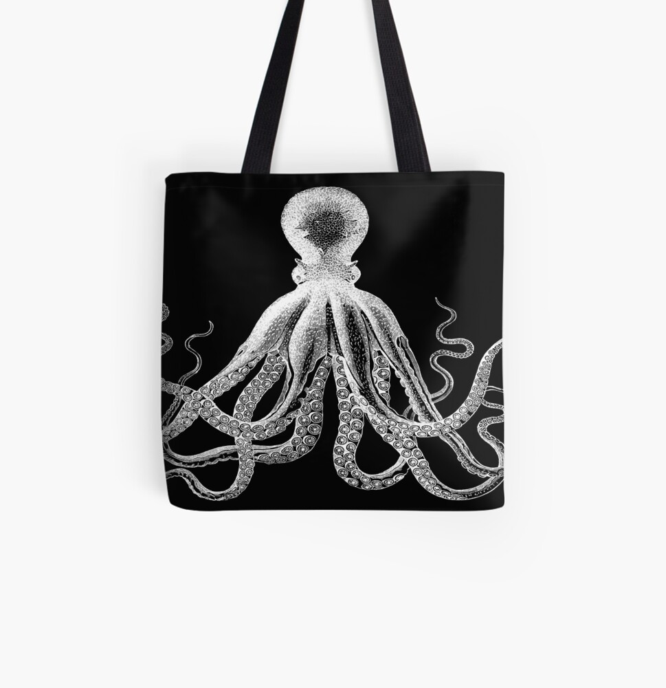 Octopus   Vintage Octopus   Tentacles   Sea Creatures   Nautical   Ocean   Sea   Beach   Black and White    All Over Print Tote Bag