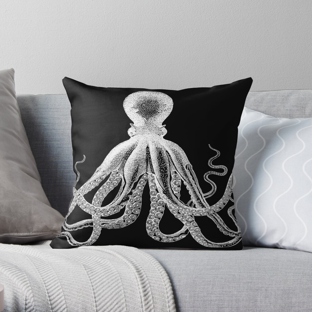 Octopus | Vintage Octopus | Tentacles | Sea Creatures | Nautical | Ocean | Sea | Beach | Black and White |  Throw Pillow