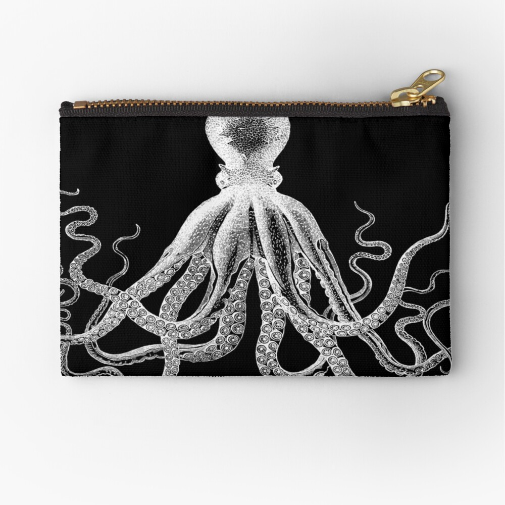 Octopus | Vintage Octopus | Tentacles | Sea Creatures | Nautical | Ocean | Sea | Beach | Black and White |  Zipper Pouch