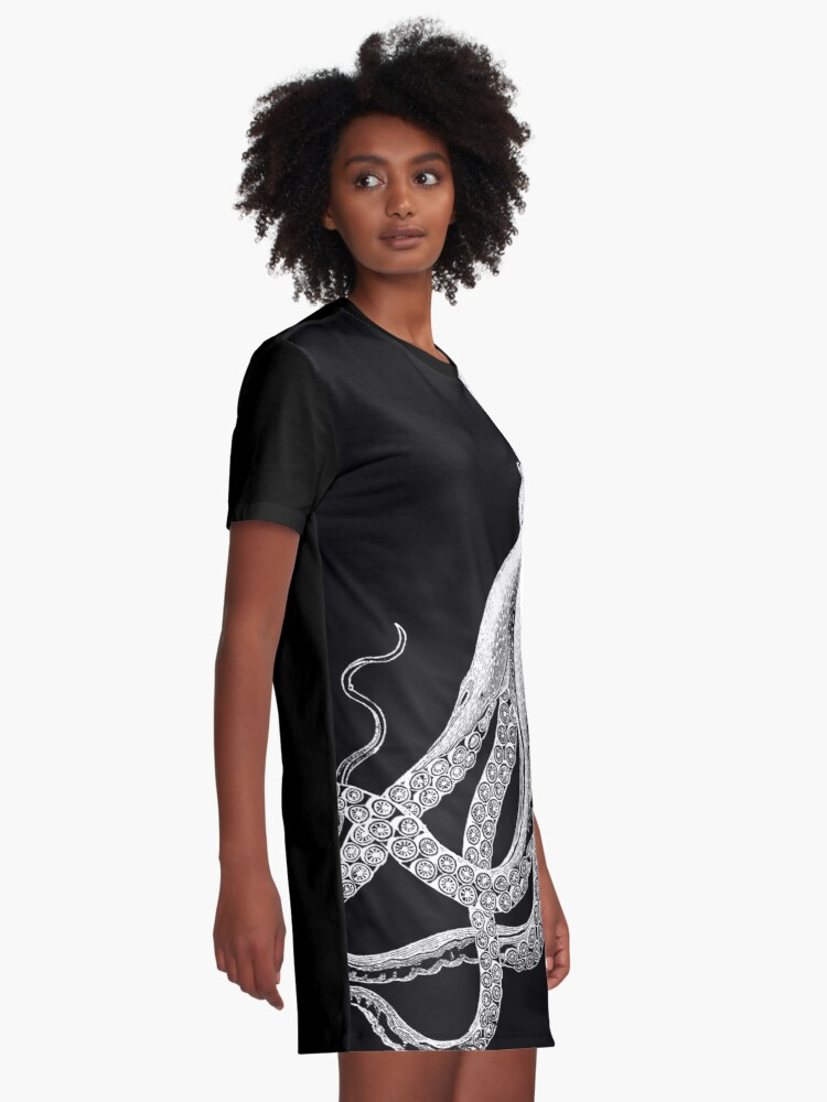 Alternate view of Octopus   Vintage Octopus   Tentacles   Sea Creatures   Nautical   Ocean   Sea   Beach   Black and White    Graphic T-Shirt Dress