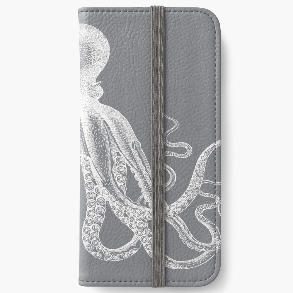 Octopus | Vintage Octopus | Tentacles | Sea Creatures | Nautical | Ocean | Sea | Beach | Grey and White |  iPhone Wallet