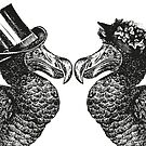 Mr and Mrs Dodo   Dodo Couple   Vintage Dodos   Black and White    by EclecticAtHeART
