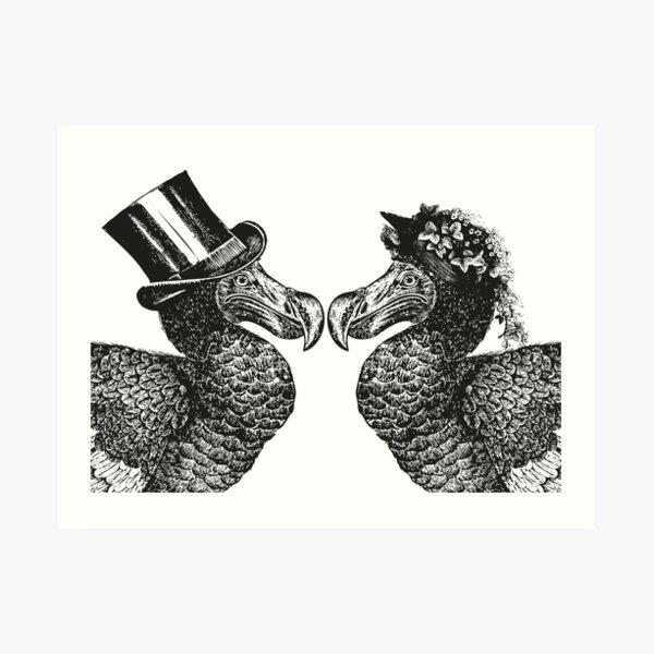 Mr and Mrs Dodo | Dodo Couple | Vintage Dodos | Black and White |  Art Print