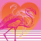 Flamingos at Sunset   Pink Flamingos   Vintage Flamingos    by EclecticAtHeART