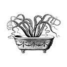 Tentacles in the Tub   Octopus in Bathtub   Vintage Octopus   Black and White    by EclecticAtHeART
