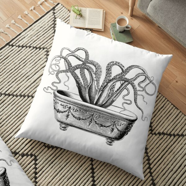 Tentacles in the Tub   Octopus in Bathtub   Vintage Octopus   Black and White    Floor Pillow