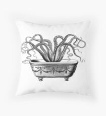 Tentacles in the Tub | Octopus | Black and White Floor Pillow