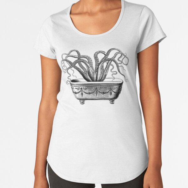 Tentacles in the Tub | Octopus in Bathtub | Vintage Octopus | Black and White |  Premium Scoop T-Shirt