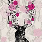 The Stag and Roses   Deer and Roses   Stag and Flowers   Deer and Flowers   Vintage Stag   Antlers   Woodland   Highland    by EclecticAtHeART