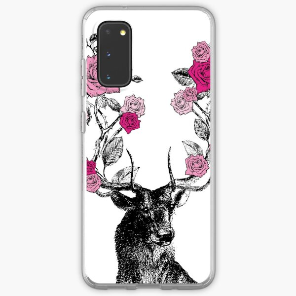 The Stag and Roses | Deer and Roses | Stag and Flowers | Deer and Flowers | Vintage Stag | Antlers | Woodland | Highland | Pink |  Samsung Galaxy Soft Case