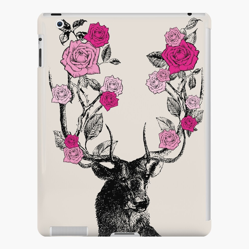 The Stag and Roses | Deer and Roses | Stag and Flowers | Deer and Flowers | Vintage Stag | Antlers | Woodland | Highland | Pink and Beige |  iPad Snap Case